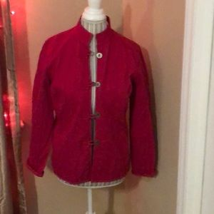 Chico's sz 0 pink quilted cotton jacket